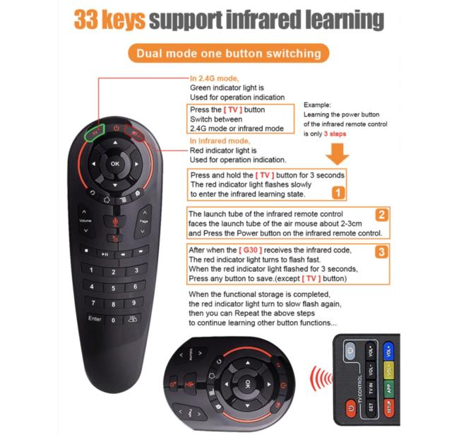 G30 33 keys IR learning remote control
